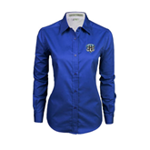 Ladies Royal Twill Button Down Long Sleeve-IPFW Mastodon Shield