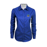 Ladies Royal Twill Button Down Long Sleeve-Arched IPFW with Mastodon