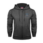 Charcoal Fleece Full Zip Hoodie-IPFW Mastodon Shield