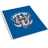 College Spiral Notebook w/Clear Coil-IPFW Mastodon Shield