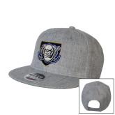 Heather Grey Wool Blend Flat Bill Snapback Hat-Icon