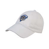 White Twill Unstructured Low Profile Hat-IPFW Mastodon Shield