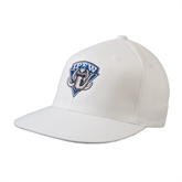 White OttoFlex Flat Bill Pro Style Hat-IPFW Mastodon Shield