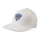 White OttoFlex Flat Bill Pro Style Hat-IPFW Mastodon Shield