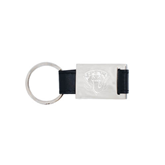 Leather Black Key Holder-IPFW Mastodon Shield Engraved