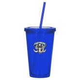 Madison Double Wall Blue Tumbler w/Straw 16oz-Primary Mark