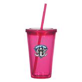 Madison Double Wall Pink Tumbler w/Straw 16oz-IPFW Mastodon Shield