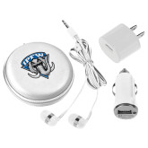 3 in 1 White Audio Travel Kit-IPFW Mastodon Shield