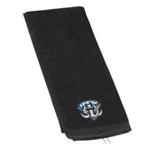 Black Golf Towel-IPFW Mastodon Shield