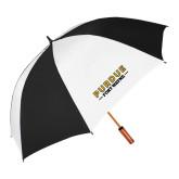 62 Inch Black/White Vented Umbrella-Athletics Primary Wordmark