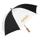 62 Inch Black/White Vented Umbrella-Secondary Athletics Wordmark