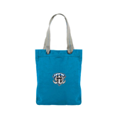 Allie Turquoise Canvas Tote-IPFW Mastodon Shield