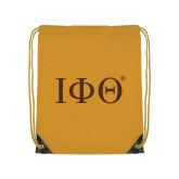 Gold Drawstring Backpack-Greek Letters