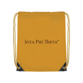 Gold Drawstring Backpack-Iota Phi Theta - Small Caps