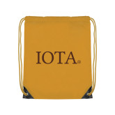 Gold Drawstring Backpack-IOTA - Small Caps