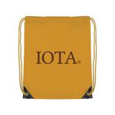 Gold Drawstring Backpack-IOTA - Small Caps