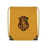 Gold Drawstring Backpack-Crest