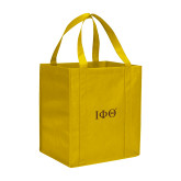 Non Woven Gold Grocery Tote-Greek Letters