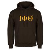 Brown Fleece Hoodie-Greek Letters