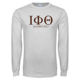 White Long Sleeve T Shirt-Greek Letters Alumni Year