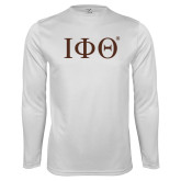 Syntrel Performance White Longsleeve Shirt-Greek Letters