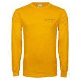Gold Long Sleeve T Shirt-Iota Phi Theta - Small Caps