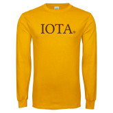 Gold Long Sleeve T Shirt-IOTA - Small Caps
