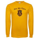Gold Long Sleeve T Shirt-Iota Phi Theta w/ Crest