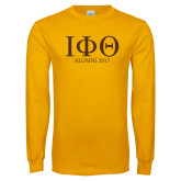 Gold Long Sleeve T Shirt-Greek Letters Alumni Year