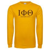 Gold Long Sleeve T Shirt-Greek Letters Alumni Year