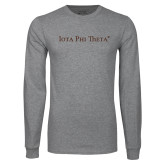 Grey Long Sleeve T Shirt-Iota Phi Theta - Small Caps