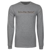 Grey Long Sleeve T Shirt-Iota Phi Theta - Small Caps
