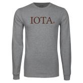 Grey Long Sleeve T Shirt-IOTA - Small Caps