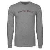 Grey Long Sleeve T Shirt-Arched Iota Phi Theta