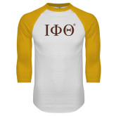 White/Gold Raglan Baseball T Shirt-Greek Letters