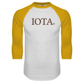 White/Gold Raglan Baseball T Shirt-IOTA - Small Caps