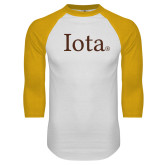 White/Gold Raglan Baseball T Shirt-Iota
