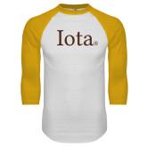 White/Gold Raglan Baseball T Shirt-Iota