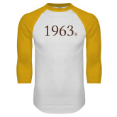 White/Gold Raglan Baseball T Shirt-1963