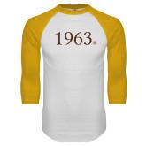 White/Gold Raglan Baseball T Shirt-1963