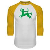 White/Gold Raglan Baseball T Shirt-Centar