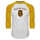 White/Gold Raglan Baseball T Shirt-Iota Phi Theta w/ Crest