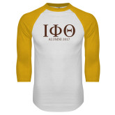 White/Gold Raglan Baseball T Shirt-Greek Letters Alumni Year