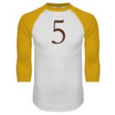 White/Gold Raglan Baseball T Shirt-5