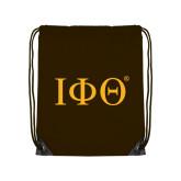 Brown Drawstring Backpack-Greek Letters