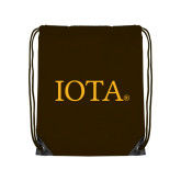 Brown Drawstring Backpack-IOTA - Small Caps