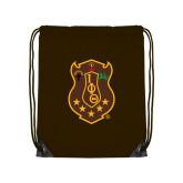 Brown Drawstring Backpack-Crest