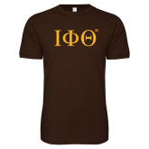 Next Level SoftStyle Brown T Shirt-Greek Letters