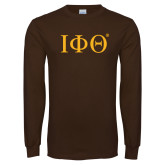 Brown Long Sleeve T Shirt-Greek Letters