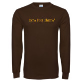Brown Long Sleeve T Shirt-Iota Phi Theta - Small Caps